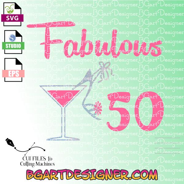 Silhouette Fifty Fab Woman: LllᐅFabulous 50 Birthday Svg
