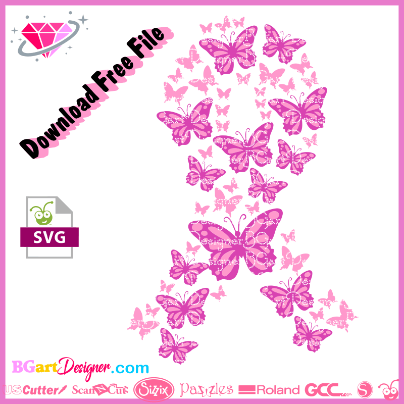 Free Pink Ribbon Butterfly Svg Cut File October Pink