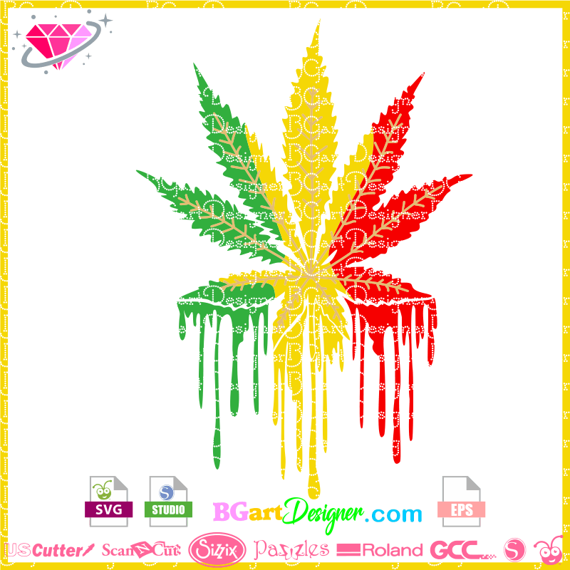 Lllᐅcannabis Leaf Dripping Svg Cut File Cricut Silhouette Birthday