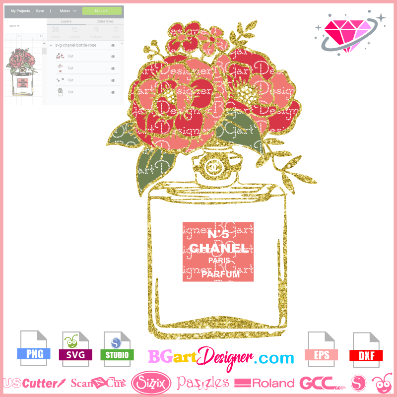 Lllᐅchanel Bottle Flower Svg Flowers Peony Cricut Silhouette Sublimation