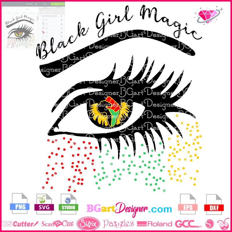 Lllᐅblack Girl Magic Eye Svg Afro Woman Cricut Cut File