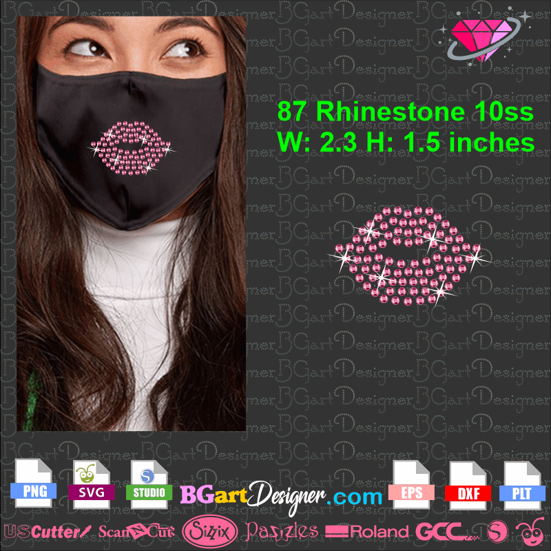 Free Rhinestone Lips Face Mask Download Svg Png Files