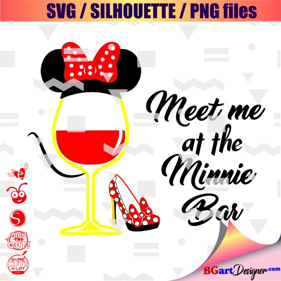 Minnie mouse wine glass svg