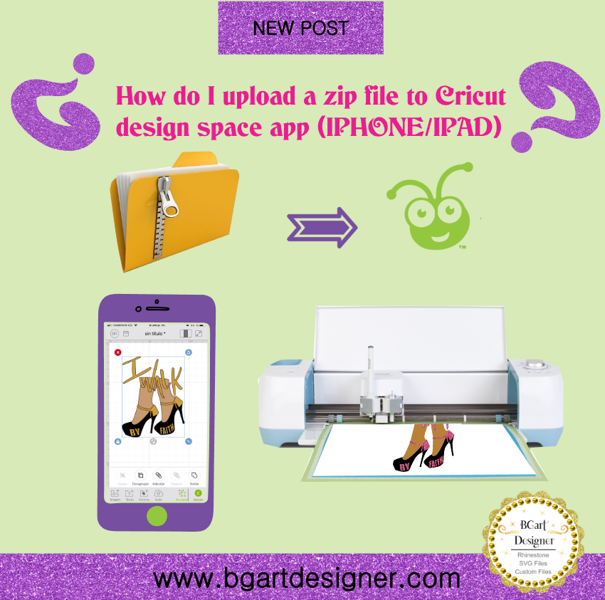 How to upload zip files to cricut design space app on Iphone