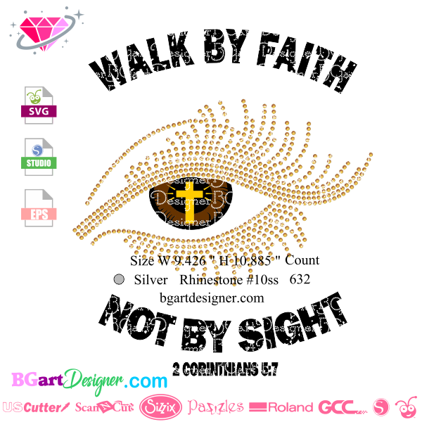 Lllᐅwalk By Faith Svg Bgartdesigner Best Custom Rhinestone
